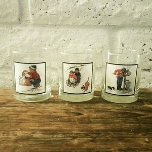 Vtg Norman Rockwell Winter Scenes Drinking Cups